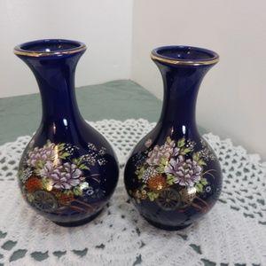 Kijtani Set of 2 Royal Blue Ceramic Mini Vases